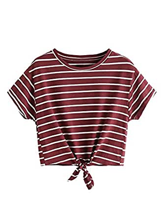 Romwe Women's Knot Front Long Sleeve Striped Crop Top Tee T-Shirt, Burgundy & White, Large/US 8-10