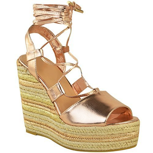 Fashion Thirsty Heelberry® Womens Ladies Wedge Espadrille Sandals Lace Tie Up Strappy Party Platforms Size Rose Gold Metallic b03Qe