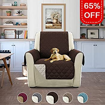 """Deluxe Reversible Quilted Furniture Protector with Straps, Sofa Cover for Pets (Chair - Brown/Beige, 75"""" x 65"""")"""