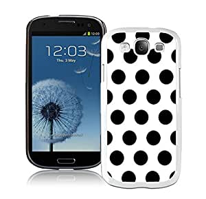 Graceful Samsung Galaxy S3 White Case Durable Soft Silicone TPU Diy Elegant Polka Dot White and Black Speck Phone Cover