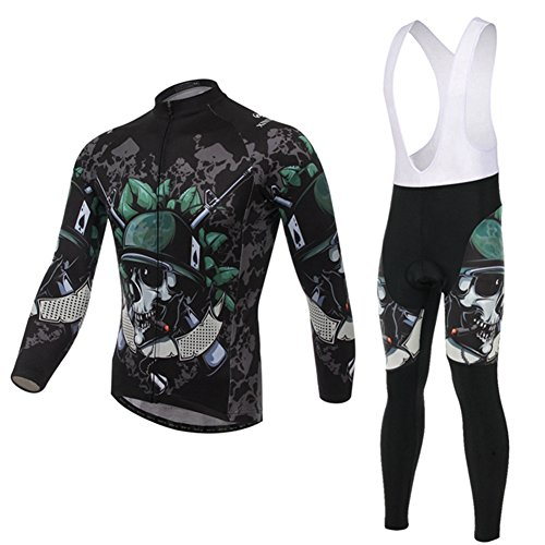 (Xinzechen Thermal Fleece Cycling Jersey Long Sleeve and 3D Padded Bib Pants Sets Skeleton Soldier Size XXL)