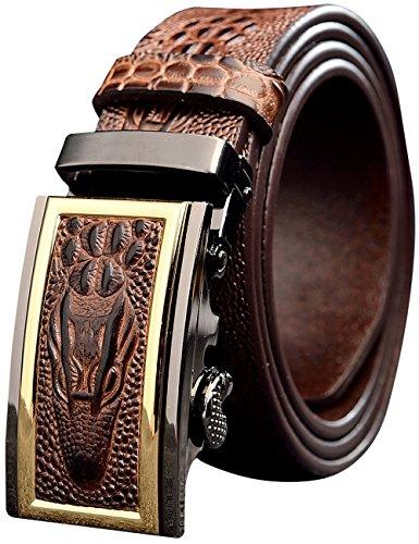 Menschwear Men's Full Grain Leather Belt Adjustable Automatic Buckle 35MM Coffee ()