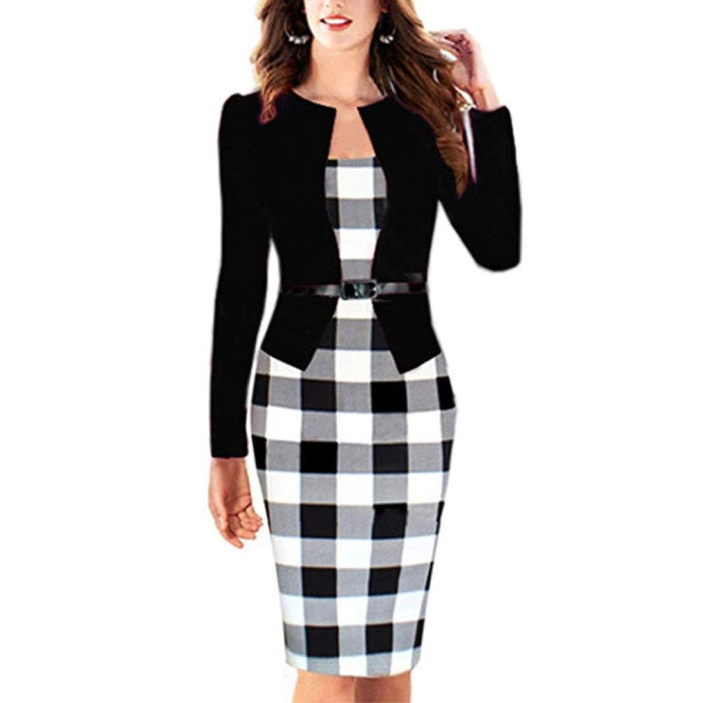 9063b5b2b70 Sunny 2018 hot Style Spring New Plaid Pencil Skirt Fake Two Professional  Dresses at Amazon Women s Clothing store