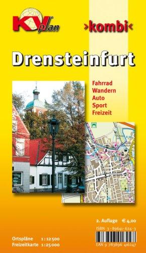 Drensteinfurt: 1:12500 Stadtplan mit Freizeitkarte 1:25000 incl. beschilderten Radroutennetz und Wanderwegen. Hausnummern in den Bauerschaften