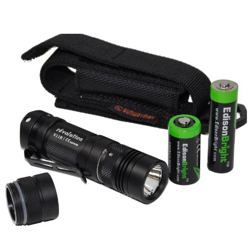 Sunwayman V11R U2 Max 500 Lumen tactical LED Flashlight, AP05 AA Extension , holster & EdisonBright AA & CR123A batteries