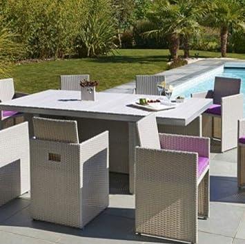 Salon de jardin encastrable 8 pl. résine tressée 1 table + 8 ...