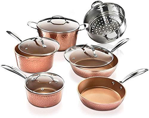 Gotham Steel Hammered Copper Collection – 15 Piece Premium Cookware & Bakeware Set with Nonstick Coating, Aluminum… 2