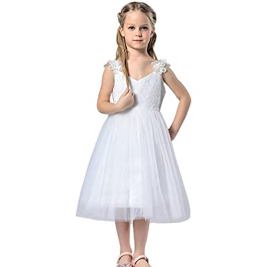 TFJH Girls Wedding Gown Evening Dresses Beads Flower 11-12 Years White