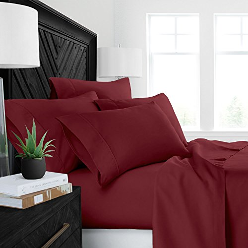 Sleep Restoration Luxury Bed Sheets with All-Natural Pure Aloe Vera Treatment - Eco-Friendly, Hypoallergenic 4-Piece Sheet Set Infused with Soothing/Moisturizing Aloe Vera - King - Burgundy