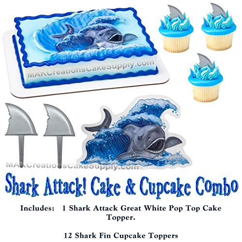 - Shark Attck Pop Top Cake Topper & Cupcake Pic Combo
