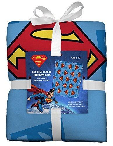 Superman No-Sew Throw Anti-Pill Fleece Fabric Kit by David Textiles