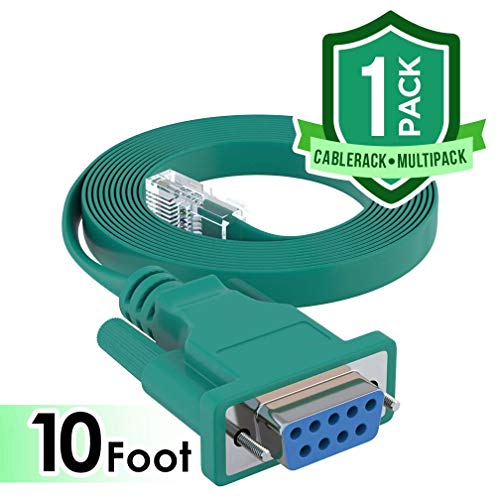 CableRack 10ft DB9 Female to RJ45 Male Rollover Console Cable for Cisco Green