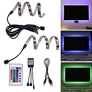 LED TV Backlight Bias Lighting for HDTV, Desktop PC USB Powered Home Theater Accent Lighting, RGB Multi Colour LED Strip Light With Remote (Reduce Eye Fatigue and Increase Image Clarity) LZ Lighting