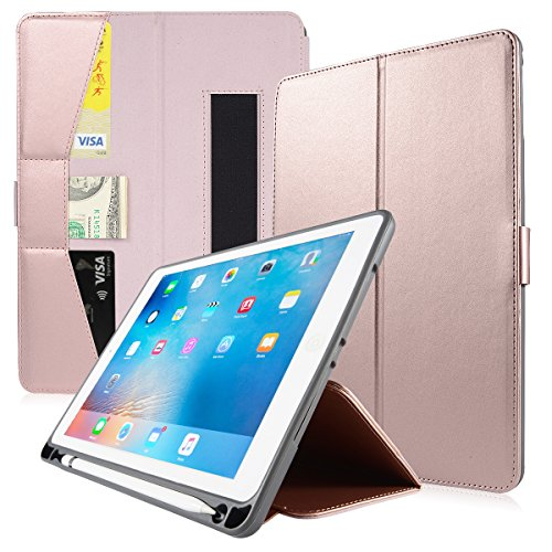 Valkit for iPad Pro 9.7 Cover, New iPad 9.7 2017/2018 Case, Shockproof Smart Stand Protective Case with Credit Card holder for Apple iPad Air/iPad Air 2 5th 6th with Pencil Holder, Rose Gold by Valkit