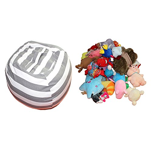 Amazing Pick Extra Large Stuffed Animal Storage Bean Bag Cover The Ultimate Storage Solution To Clean Up & Organize Kid's Room (Grey stripe, 30'') by Amazing Pick