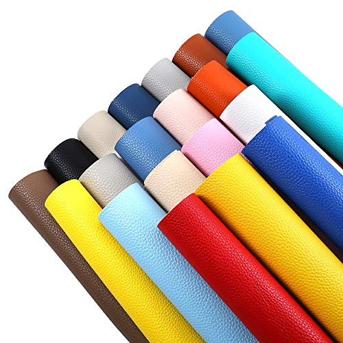 Sntieecr 20 Pieces Assorted Solid Colors PU Leather Fabric Sheet Plain Litchi Fabric Cotton Back 8.6