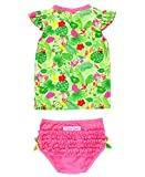 RuffleButts Baby/Toddler Girls Rash Guard 2-Piece Swimsuit Set - Tropical Print UPF 50+ Sun Protection - 12-18m