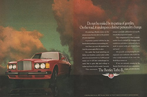 """1990-91 BENTLEY TURBO R SALOON """"Do not be Misled by its Patina..."""" - COLOR AD DOUBLE PAGE - USA - EXCELLENT ORIGINAL !!"""