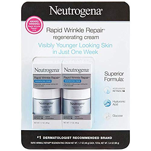 Neutrogena Rapid Wrinkle Repair Cream 1.7 Ounce Fragrance-Free (50ml) (2 Pack)