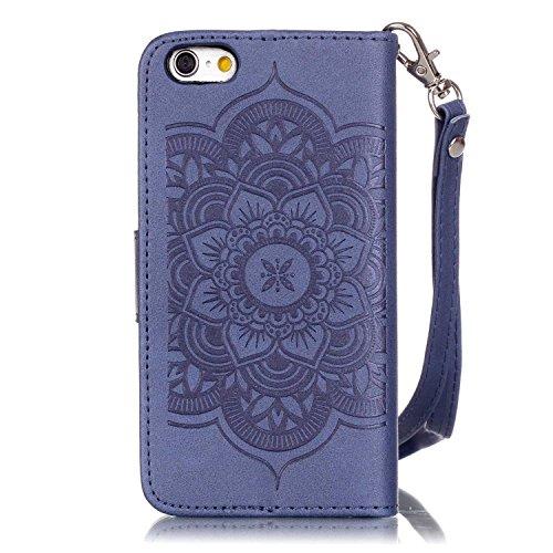 Voguecase® Pour Apple iPhone 6/6s 4,7 Coque, Etui Housse Cuir Portefeuille Case Cover (Campanula fleur-Bleu foncé)de Gratuit stylet l'écran aléatoire universelle