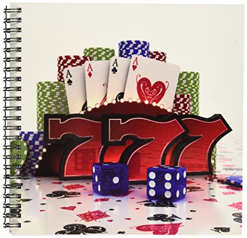 3dRose db_155012_1 Casino Concept with Poker Cards Chips Dice and Slot Style Sevens Drawing Book, 8 by 8""