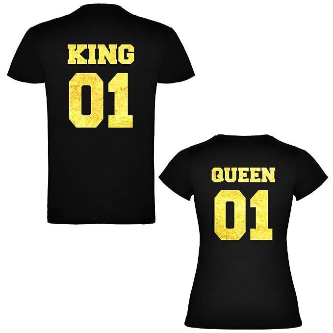 Pack de 2 Camisetas Negras para Parejas, King 01 y Queen 01 Bold Dorado (