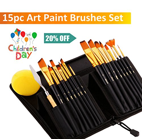 Professional Artist Acrylic-Paint-Brushes Painting-Set with Case - 15 Brushes w/ Different Shape by MemOffice, Premium No-Shedding Bristles, Palette Knife & Sponge, For Acrylic, Oil, Face, Watercolor