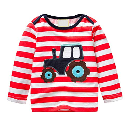 Price comparison product image Toddler Kids Baby Girls Boys Soft Cotton Cartoon Animal Tops, Long Sleeve Crewneck Pullover Striped Tee Shirt 1-6T (Multicolor, 4T3-4 Years)