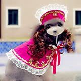 BeesClover High Grade Dogs Cats Lovely lace Wig hat Cloak Set pet Dog cat Fashion Princess caps Scarf Suit Pets Grooming Accessories 1pcs PF18 S
