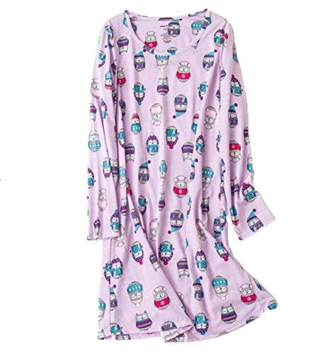 - Amoy madrola Women's Nightgowns Cotton Long Sleeves Sleepwear Print Nightshirts XTSY109-Long Purple Owl-L