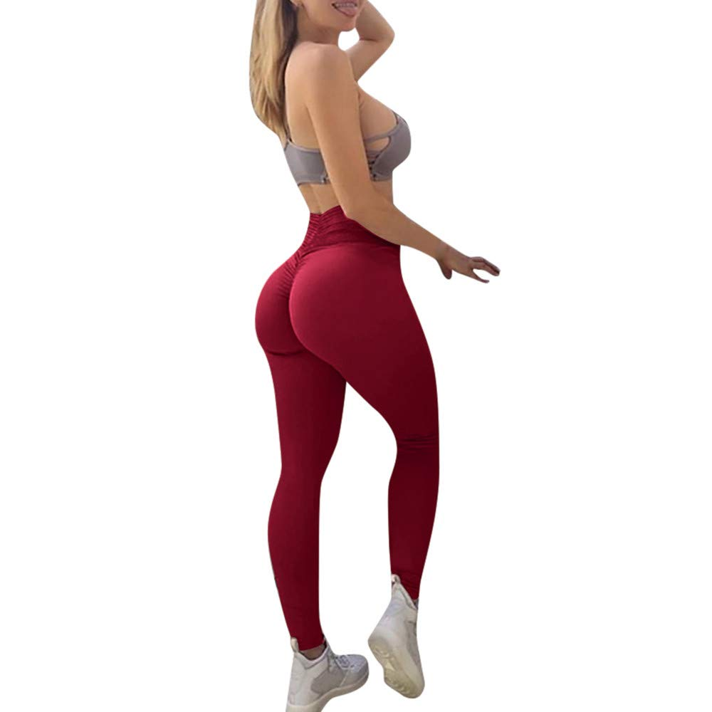 ABASSKY Women's Fashion Workout Leggings Fitness Sports Gym Running Yoga Athletic Pants Red