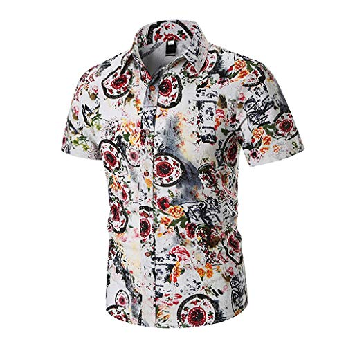 Men's Tropical Beach Shirt Turn-Down Collar Slim Fit Short Sleeve Party Shirt Print Hawaiian Shirt for Bar by Lowprofile Red