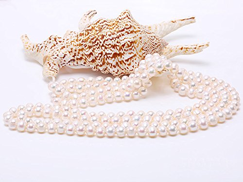 JYX Round Natural White 8-9mm Freshwater Pearl Necklace Endless Long Sweater Necklace 64'' by JYX Pearl (Image #6)