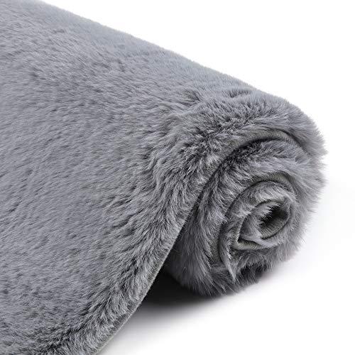 Uphome Bathroom Rug,Luxury Dark Grey Bath Mat 17x25 inch Non-Slip Faux Angora Door Carpet Soft Machine-Washable Shag Rug for Shower Doormats Tub