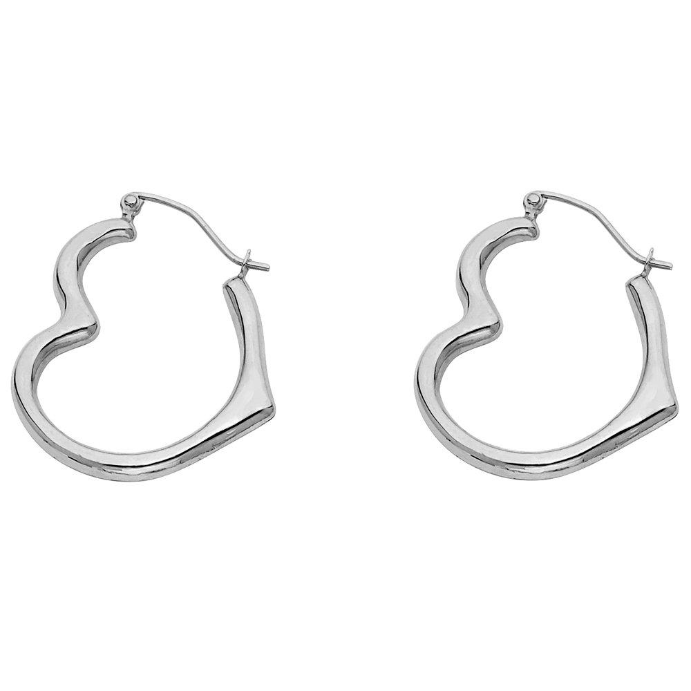 14k White Gold Heart Shaped Hoop Earrings (13 x 15mm)