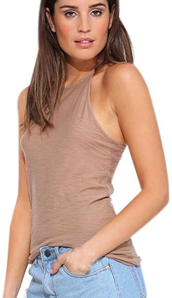 Shirt Halter Color Top Tank Cuello Tops Ajustado Camisas Mangas Casual Sin Verano Camisa Señora T Camisetas Mujer Elegantes Tirantes Puro Blusas CrdBxoe