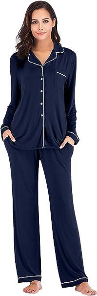 Landove Pijama Dos Piezas Manga Larga Pantalon y Camisero con Botones