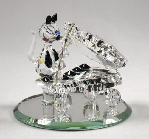 Crystal Cat Playing Piano Made with Swarovski Crystal