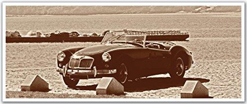 JP London PAN5111 uStrip Vintage Corvette By The Beach High Resolution Peel Stick Removable Wallpaper Sticker Mural, 48