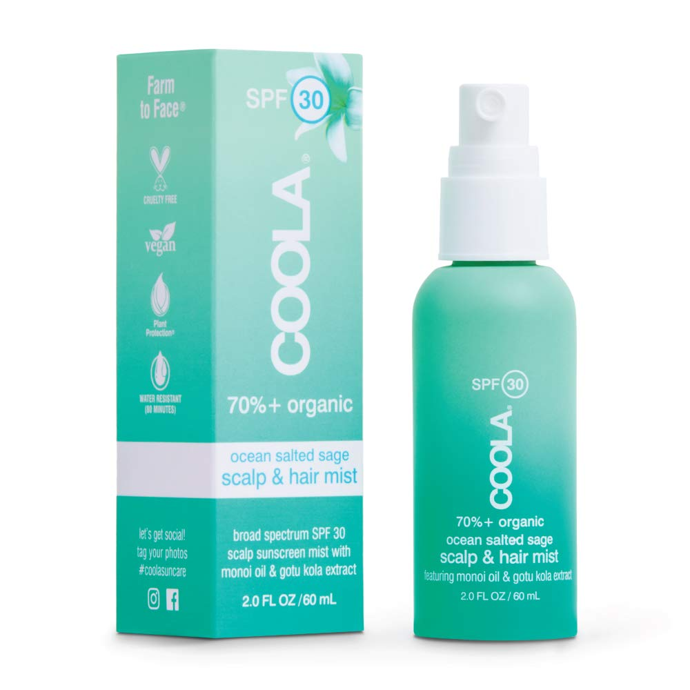COOLA Organic Scalp Spray & Hair Sunscreen Mist, Skin Care for Daily Protection, Broad Spectrum SPF 30, Ocean Salted Sage, 2 Fl Oz