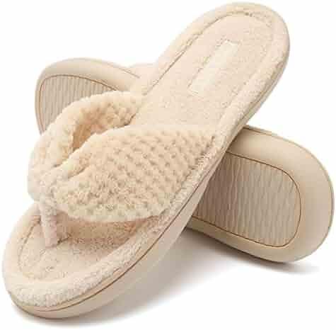 95600e36cd28 CIOR Fantiny Women s Cozy Memory Foam Spa Thong Flip Flops House Indoor  Slippers Plush Gridding Velvet