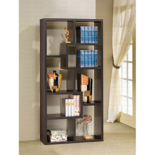 """Brayden Studio Bookcase Cube Unit 71"""" Ansley Collection Features Unevenly Shaped Shelves Charming Design in Cappuccino Finish from Brayden Studio"""