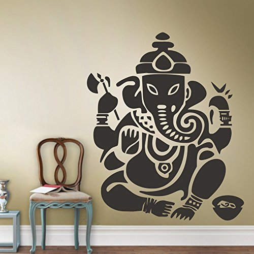 Ganesh Buddhism India Indian namaste Buddha OM Yoga Success God Lord Wall Decal Sticker (Black, X-Large)