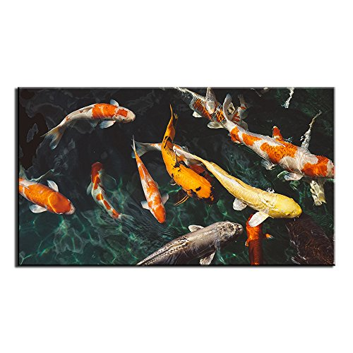 Unframed Modern koi Fish Cute Print on Canvas Painting for Home Wall Art Decor Living Room Bedroom Decoration(18x32inch)