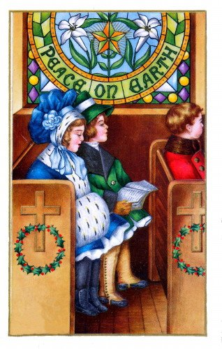 Vintage Christmas Artwork~Sweet Girls in Church Pew~Stained Glass Window~Peace On Earth~Lillies~6 pack NEW Matte Vintage Picture Large Blank Note Cards with Envelopes