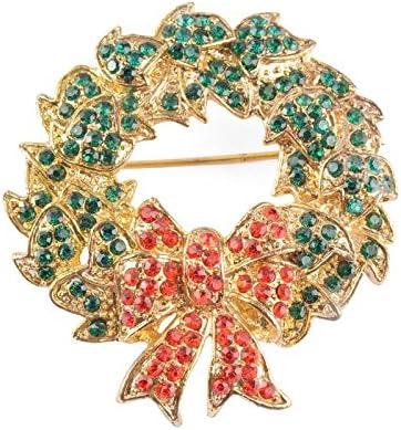 Christmas Gift Enamel Rhinestone Crystal Wreaths Gold Necklace