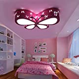 Chandelier Ceiling Lamp Butterfly Lamp, Lovely LED Ceiling Lamp Living Room Bedroom Girl And Baby Acrylic Ceiling Lamp (pink / Green) ( Color : Pink )