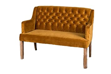 Peppermill Interiors VELVET UPHOLSTERED BENCH SEAT FRENCH STYLE BUTTON BACK DINING ROOM SOFA 2 SEATER