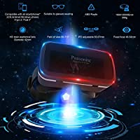 Pansonite Premium 3D VR Glasses with Adjustable Lenses & Head Strap, More Lightweight and Comfortable Virtual Reality Headset for 3D Movies and Games, Fit for iPhone and Android Smartphone from Pansonite
