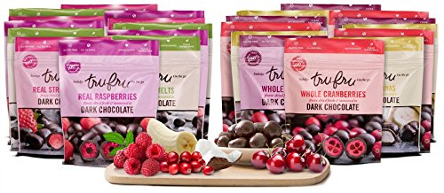 - Tru Fru Dark Chocolate Dipped Freeze-Dried Fruit, 24-Pack Grab & Share Best Seller Sampler Pack (4-Strawberry 4-Raspberry 4-Coconut Melts 4-Banana 4-Cherry 4-Cranberry) (Sampler)